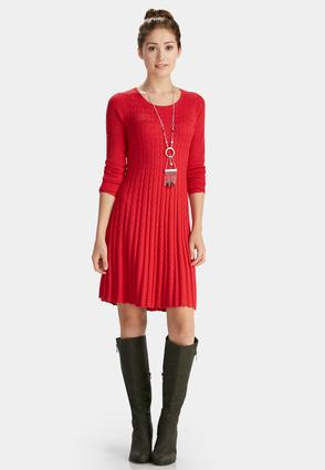 Cable Knit Fit And Flare Dress