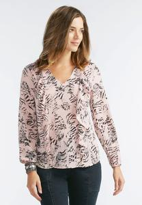 Abstract Feather Double Ruffle Top-Plus