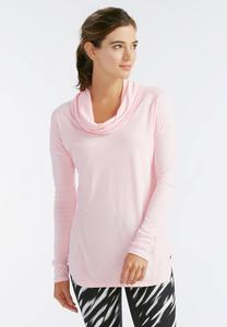 Space Dyed Cowl Neck Athleisure Top-Plus