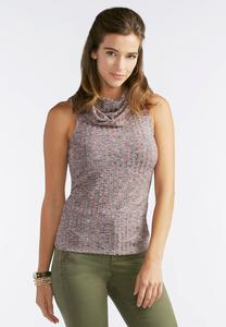 Ribbed Cowl Neck Tank- Plus