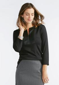 Faux Leather Placket Top-Plus