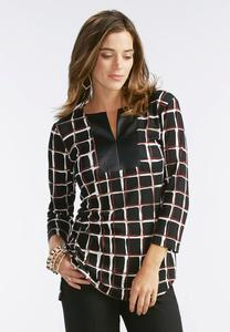 Checkered Faux Leather Placket Top-Plus