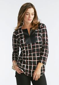 Checkered Faux Leather Placket Top
