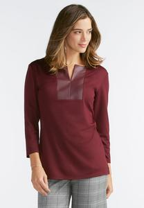 Faux Leather Placket Top