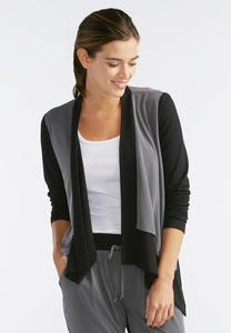 Colorblock Draped Cardigan- Plus