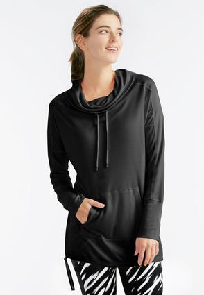 Cowl Neck Drawstring Sweatshirt- Plus