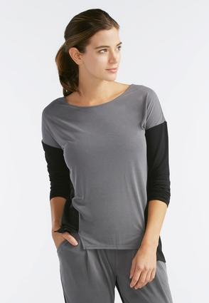 Colorblock High- Low Athleisure Top- Plus
