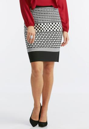 Graphic Striped Ponte Skirt