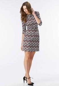 Abstract Chevron Sheath Dress