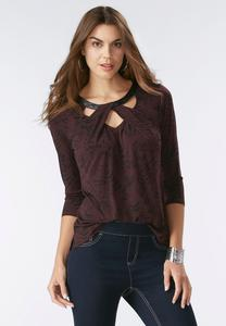 Abstract Feather Twisted Cutout Neck Top
