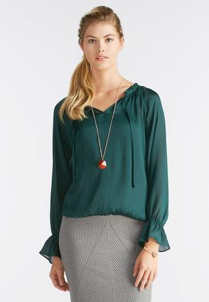 Ruffled Tie Neck Poet Top