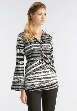 Graphic Striped Tie Neck Top