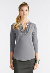 Sequin Placket High-Low Top