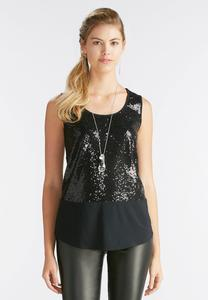 Sequin Inset Tank-Plus