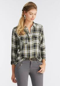 Plaid Boyfriend Shirt-Plus