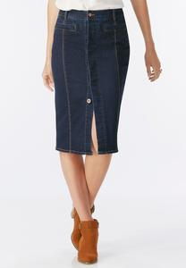 Hidden Button Front Denim Skirt-Plus