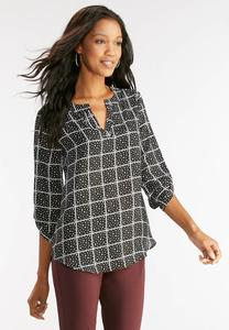 Windowpane Polka Dot Top- Plus
