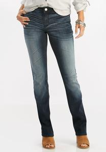 Whiskered Dark Wash Bootcut Jeans-Petite