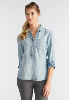 Chambray Popover Top- Plus