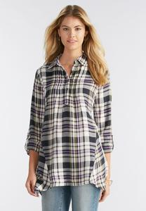 Pleated Plaid Sharkbite Popover Top-Plus