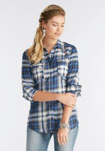 True Blue Plaid Shirt-Plus