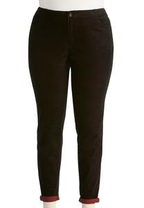 Two-Tone Corduroy Skinny Pants-Plus
