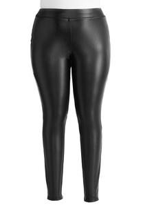 Faux Leather Leggings-Plus