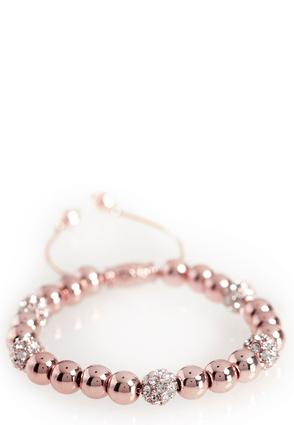 Pave Ball Beaded Pull String Bracelet