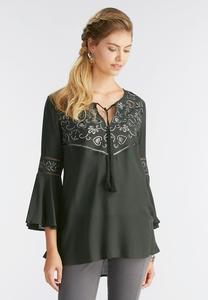 Metallic Embroidered Poet Top