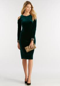 Cold Shoulder Velvet Midi Dress-Plus