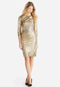 The Stunner Metallic Sheath Dress-Plus