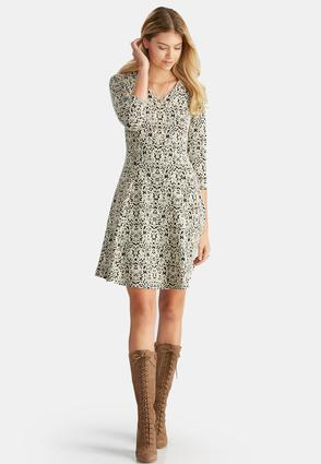 Textured Scroll Fit And Flare Dress