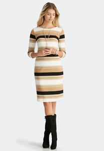 Metallic Striped Ponte Midi Dress