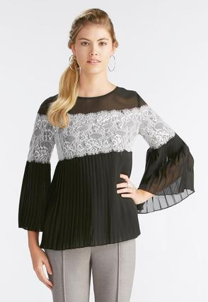 Lace Trim Pleated Top- Plus
