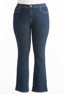 Metallic Stitched Bootcut Jeans-Plus Petite