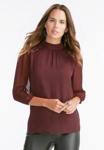 Lace Shoulder Mock Neck Top