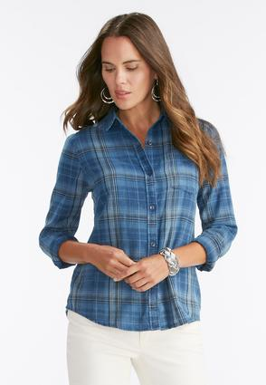 Plaid High- Low Button Down Shirt