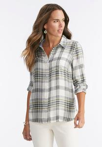 Button Back Plaid Shirt
