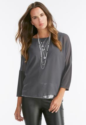 Sequin Mock Layered Poncho Top- Plus