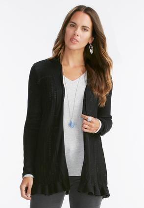 Ruffle Trim Pointelle Cardigan- Plus