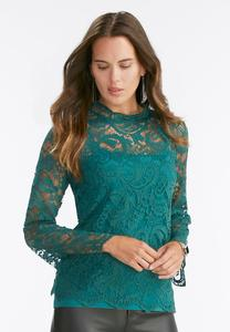 Lace Mock Neck Top- Plus
