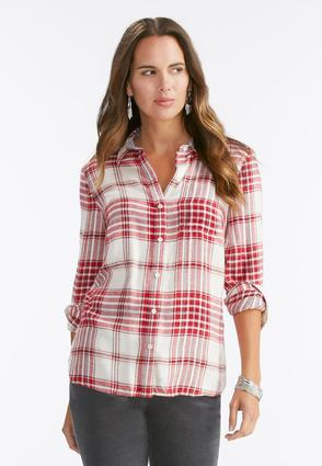 Button Back Plaid Shirt- Plus