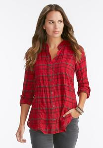 Pleated Plaid Crinkle Shirt-Plus