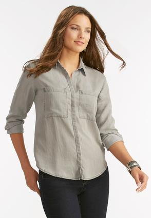 Chambray Button Down High- Low Shirt