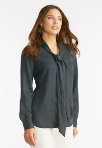 Chambray Tie Neck Top-Plus