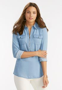 Zip Neck Chambray Top-Plus