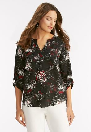 Fireworks High- Low Popover Top- Plus