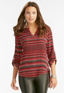Herringbone High-Low Popover Top-Plus