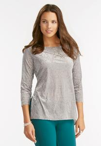 Scroll Velvet Burnout Top-Plus