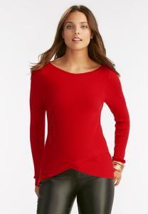 Ribbed Tulip Hem Sweater-Plus